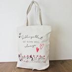 【COTTON BAG コットンバッグ】キャットプリント(猫ライン)縦型トートバッグ