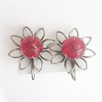 red beads flower earring[e-839]