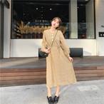 【dress】Ⅴネック長袖花柄プリント清新ワンピース