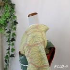 正絹紬 黄浅黄に麻の葉亀甲の小紋 袷