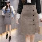 全2色 スカート Aライン チェック柄 ハイウエスト 膝丈 ボタン 上品 通勤 通学 デート お出かけ