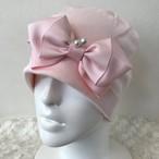 パールと小フリルリボンのケア帽子 ピンク⑤