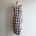 PHEENY【 womens 】rayon ombre check apron dress