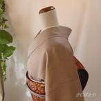 【F様ご予約品】正絹綸子 紫鼠に葉の飛び柄の小紋 袷 作家物