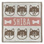 【柴犬】ジャガードハンカチタオル(ピンク)【猫雑貨】
