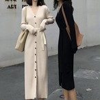 【dress】シングルボタンvネック洒落感満々レトロニットワンピース 23587371
