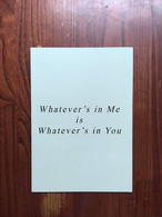【サイン入りZINE】Whatever's in me is whatever's in you|Chad Moore