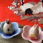 (209) 瀬戸焼 工房SAO 花中兎雛飾り 陶器製 うさぎ ミニ お雛様 ひな人形 ひな祭り 日本製