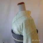 正絹紬 ミントグリーンの小紋 単衣