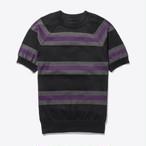 Short-Sleeve Striped Sweater(Black)
