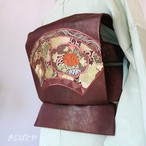 正絹 紅海老茶に刺繍の袋帯