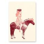手刷りポストカード girl & horse