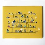 手刺繍パネル「アミダクジ」YL インテリア ファブリックパネル