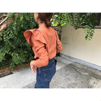 sleeve frill blouse (brown)