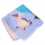 《鳥/ペリカン》 ハンカチ 湖畔ペリカン morita MiW ガーゼパイルハンカチ モコモコドウブツハンカチ 綿100% 刺繍