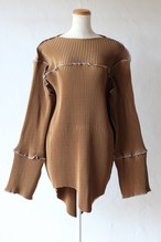 【kotohayokozawa】pleats mini dress-brown