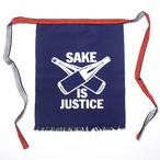 【帆前掛け/手染め】SAKE IS JUSTICE / 紺(ポケット付き)