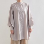 【鮮やか春色カラーシャツ★オーバーサイズシャツ】バンドカラーボリューム袖ロングシャツ4カラー