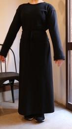 THE HINOKI オーガニックコットン ロングスリーブ ベルテッドドレス BLACK #19S-25