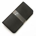 ほぼ全機種製作ブラック手帳型スマホケース国産牛革/code75 iPhone XPERIA Galaxyなど