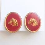 red enamel horse earring[e-1364] ヴィンテージイヤリング