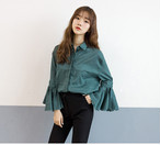 casual style long slimming form full flare sleeve 306