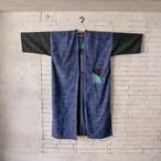 濃紺生地と花草模様 2種類の絹100%紬のコート 20CT006
