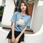 【tops】すがすがしいプリントビーズ飾り丸ネックエレガントTシャツ