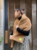 【20AW】OOF オーフ / Scarf 3007 in camel curly pile faux fur