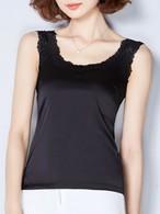【tops】Slim silk solid color vest