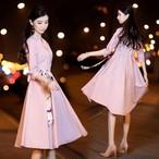 ウエストマーク ワンピース ドレス  S〜3XL リボン フォーマルな席にも♢♦︎