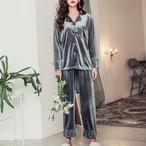 【パジャマ】韓国系無地折り襟2点セットパジャマ25053736