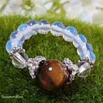 【リング】天然石パワーストーンリング(指輪)-タイガーアイ・水晶-(ring-005)
