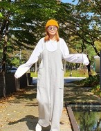 シャーリング起毛ジャンプスーツ ジャンプスーツ 韓国ファッション