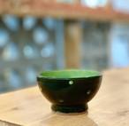 マカイ 4寸 福田陶器 (黒緑点打)