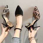 【shoes】エレガント洒落感満々アルファベットパンプス 23519477