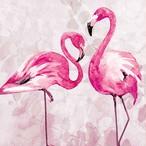 入荷しました【Nouveau】バラ売り2枚 ランチサイズ ペーパーナプキン FLAMINGO DANCE ピンク