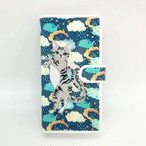 【Lサイズ 7ポケット】チワワ(ブラック)手帳マルチスマホケース【リバティ生地】【Android & iPhone】