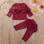 女の子 長袖 2点セット 上下セット 女の子 赤 ベビー服 セットアップ コットン