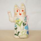 和紙と刺繍花のまねきねこ お金を呼び込む右手招き