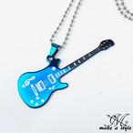 ギター ボールチェーン ネックレス ブルー シルバー GUITAR B系 ストリート系 ヒップホップ ギャング マフィア スケーター パンク 344