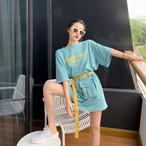 【送料無料】 ウエストバック&ベルト付き♡ カジュアル オーバーサイズ ミニワンピ風 ロゴ Tシャツ バックプリント