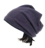 "Unisex ニット帽子"" 大人用 つけ毛付き:カラー青藍(せいらん)男女兼用フリー M~L"