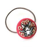 刺繍ボタンヘアゴム 赤・エスパーニャ