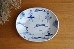 砥部焼/楕円リム付皿/バレリーナ/森陶房kaori
