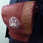 正絹袋帯 赤茶に孔雀の刺繍