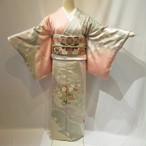1672ピンクベージュのボカシ訪問着と唐織袋帯、小物、半衿付き襦袢、裄直し