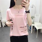 【tops】合わせやすいアルファベット丸ネックスウィートTシャツ