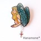 〈手描き〉ブローチ『Angel』  グリーンフェザー
