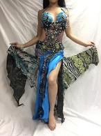 エジプト製ベリーダンス衣装 水色